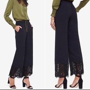 Ann Taylor Lace Trim Wide Pants